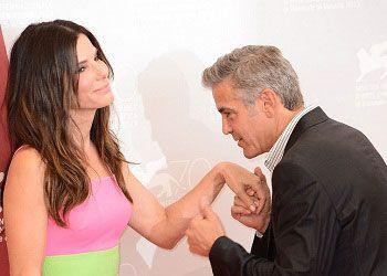 Джордж Клуни и Сандра Буллок на презентации