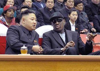 Дэннис Родман и Ким Чен Ын за столом